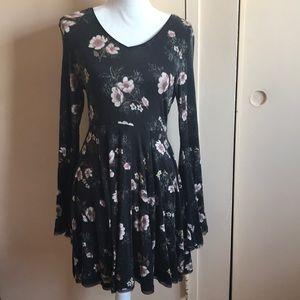 A black floral dress